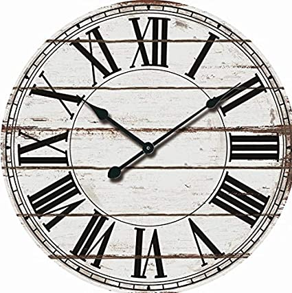 Amazoncom Wooden Round Roman Numeral Wall Clock 24 Oversized