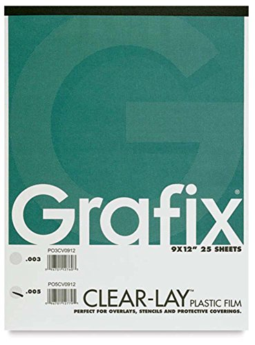 12 X 12 Acetate - Grafix Grp-P05CV0912 Lay Clear Plastic Film 25 Sheet Pad, 9