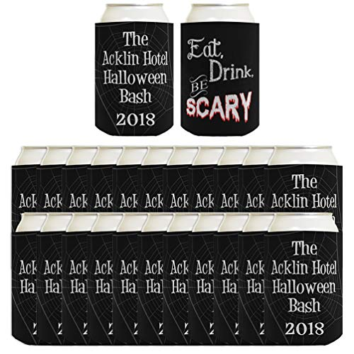 Pun Gifts Eat Drink Be Scary Customized Halloween Party Supplies 24-pack Custom Can Coolies Black ()