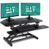 EleTab Height Adjustable Standing Desk Sit to Stand Gas Spring Riser Converter 37'' Tabletop Workstation fits Dual Monitor