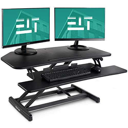 EleTab Standing Desk Converter 37 inches Black Stand up Gas Spring Workstation | Quick Sit to Stand Tabletop Dual Monitor Riser
