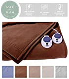 SoftHeat by Perfect Fit   Luxury Fleece Electric Heated Blanket with Safe & Warm Low-Voltage Technology (King, Chocolate)