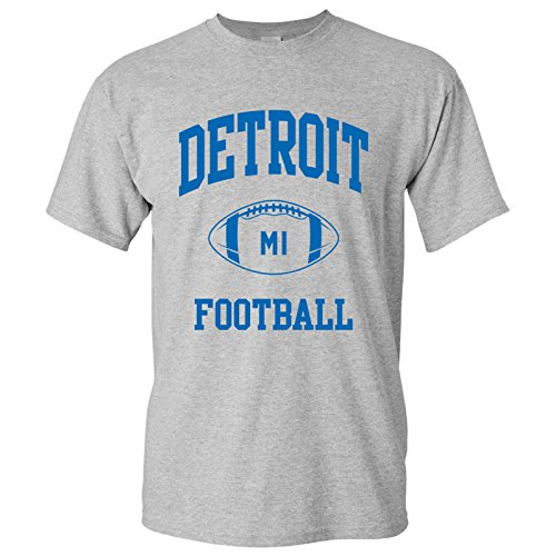 Detroit Classic Football Arch Basic Cotton T-Shirt - 3X-Large - Sport Grey