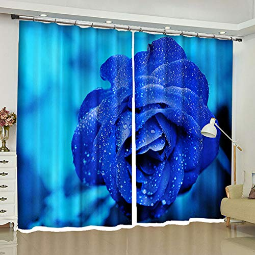 ZZHL Curtains Curtains,Hooks Rings Blackout Set Thermal Insulated Window Treatment Solid Eyelet for Bedroom 2 Panels Blue Flower (Size : 1x2.41m) by ZZHL (Image #3)