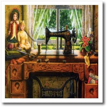 3dRose ht_100349_3 Image of 1899 Singer Sewing Machine in Country Room-Iron on Heat Transfer for White Material, 10 by 10-Inch
