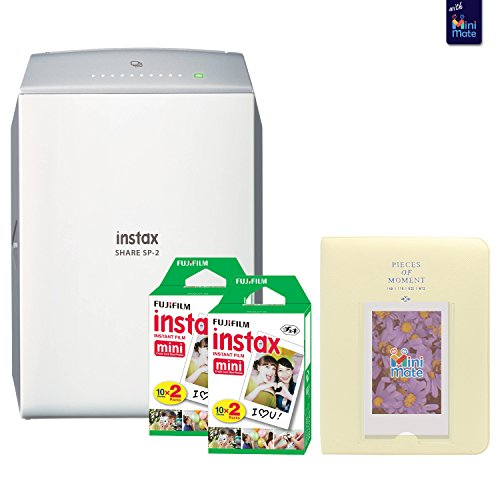 Fujifilm instax SHARE SP-2 Smartphone Printer (Silver) With Fujifilm instax Mini Twin Pack Instant Film (40 Sheets) + Fashionable Photo Album by MiniMate
