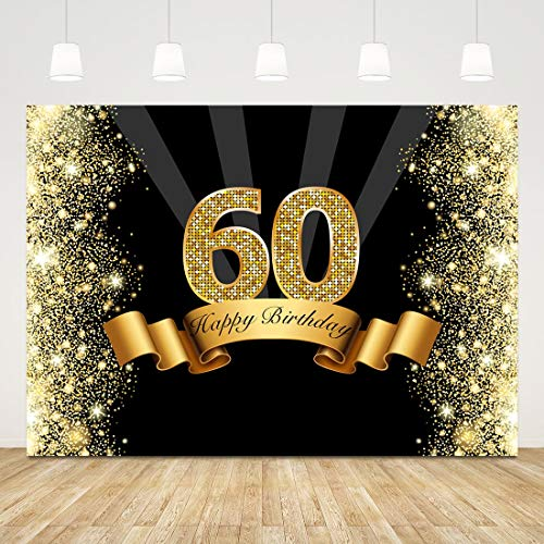 60th Birthday Backdrop Bokeh Glitter Gold Sixty Photo Background 7x5ft Diamond 60 Birthday Party Decorations 60 Years Birthday Backdrop Banner 60th Birthday Photo Booth Props Cake Table