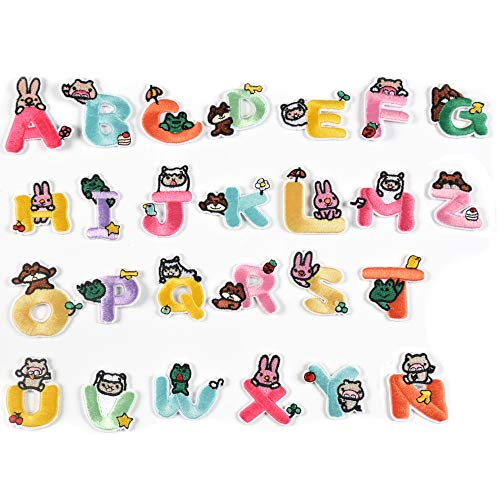 AXEN Iron on Sew on Letter Patches for Clothes, 26pcs Alphabet A to Z,animal