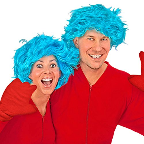 Blue Hair Wig and Red Fleece Mittens Costume Accessories -