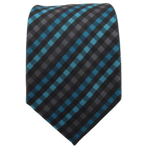 TigerTie Designer cravate turquoise anthracite noir à carreaux - Tie