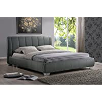 Baxton Studio Marzenia Fabric Upholstered Platform Bed, Grey, Queen