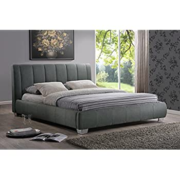 this item baxton studio marzenia fabric upholstered platform bed grey queen