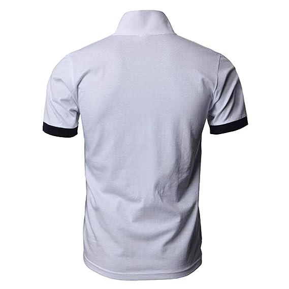Camiseta Hombre Verano Polo Patchwork Camiseta Deporte Manga Corta ...