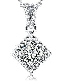 "<span class=""a-offscreen"">[Sponsored]</span>Woman Sterling Silver Necklace,925 Sterling Silver Necklace Princess-Cut Cubic Zirconia Pendant Necklace,18''"