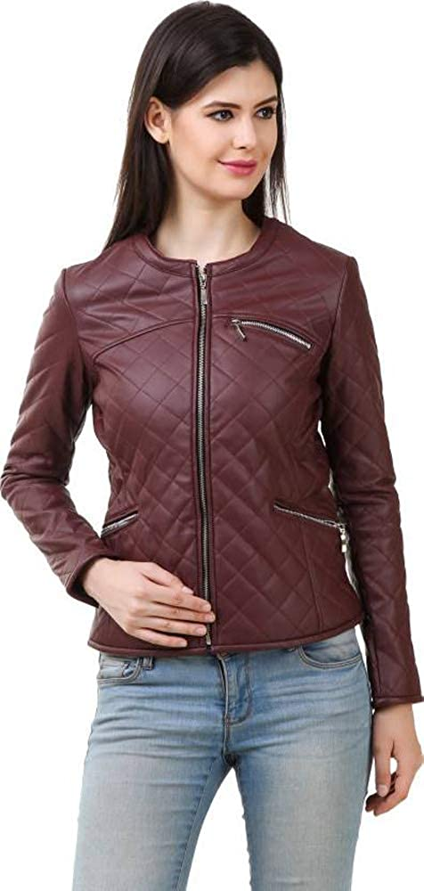 Burgundy Trailblazerzz Womens Lambskin Leather Jackets