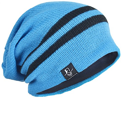 Men Reversible Slouchy Beanie Hat Unisex Skull Hat (B308-Bright Blue) (Bright Blue compare prices)