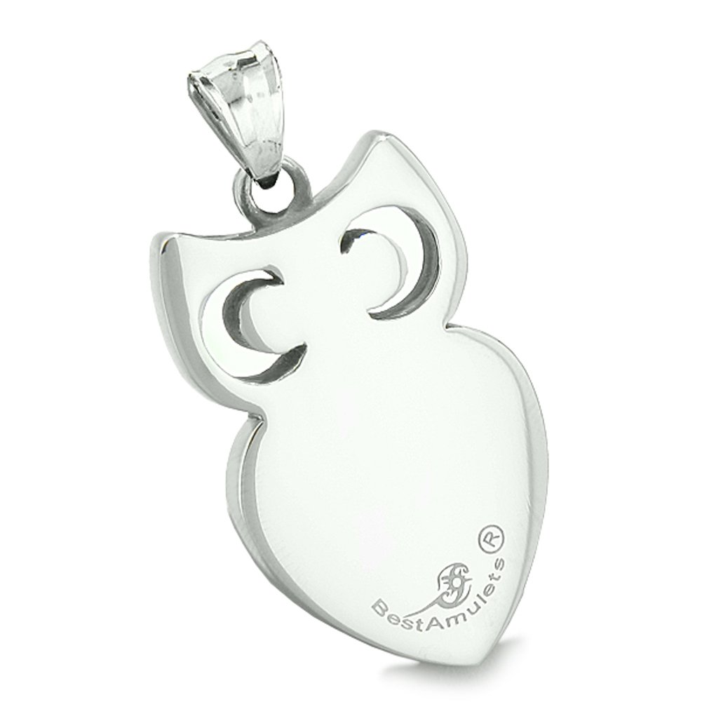 Amulet Owl Cute Heart Lucky Charm Positive Energy Star Blue Simulated Cats Eye Leather Pendant Necklace
