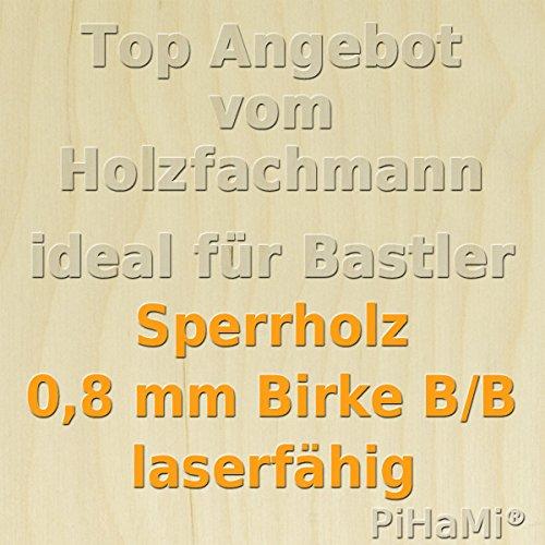 PiHaMi/® Flugzeugsperrholz Birke Qualit/ät B//B laserf/ähig 490 mm x 290 mm x 0,8 mm GP 46,38 /€//m/²