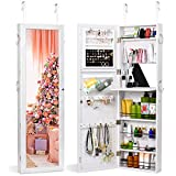 TWING Jewelry Cabinet Wall Door Mounted Lockable Jewelry Armoire Organizer with Full-Length Mirror (White)