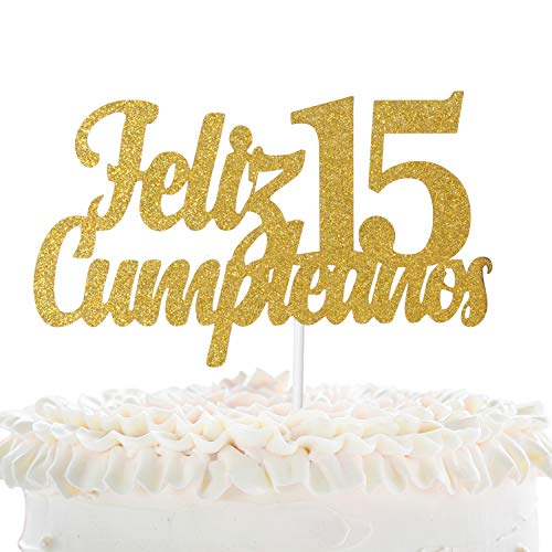 15 Anos Party Decorations (Feliz Cumpleaños 15th Birthday Cake Topper - Gold Glitter Spanish Fifteen Years Old Adorno De Cake - Cheers To Sweet 15 - Boys Girls Quince Años Cumpleaños Party)