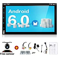 Car Stereo 32GB 2GB Double Din Radio with Bluetooth GPS Navigation Support Fastboot Wifi Mirror Link AUX USB SD Backup Camera 7 inch Touch 1080P Video Player Built in Wi-Fi BT AM/FM/RDS Steering Wheel