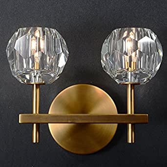 SUNWE Modern Wall Light Crystal Sconce with Frosted Crystal Globe Shade (2-Light)