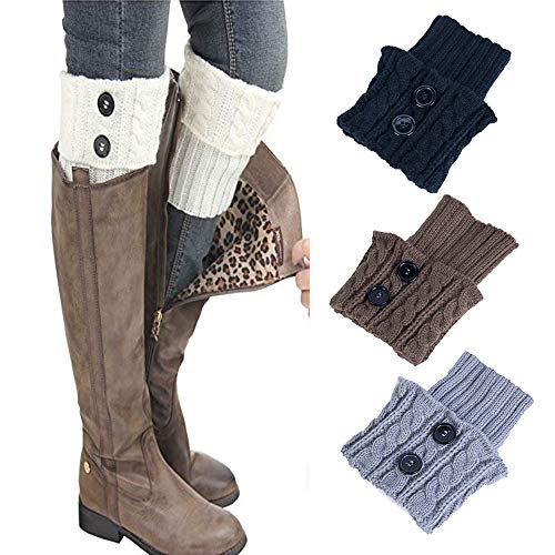 Leg Warmers,TOTOD Clearance Women Winter Over Knee Socks Warm Thick Crochet Knit Boot Cuff Short Boot Cover,3 Pairs (Black+Brown +Grey)