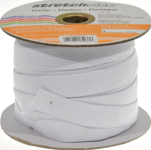 Stretchrite 3/4-Inch by 30-Yard White Knit Polyester Elastic ()
