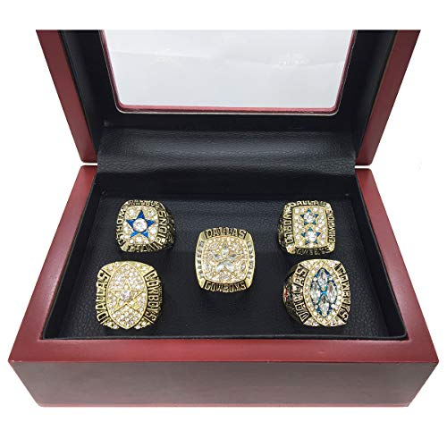 AMOH JERCY Dallas Cowboys Super Bowl 5 Golden Rings Set 1971 VI, 1977 XII, 1992 XXVII, 1993 XXVIII, 1995 XXX (Size 11)