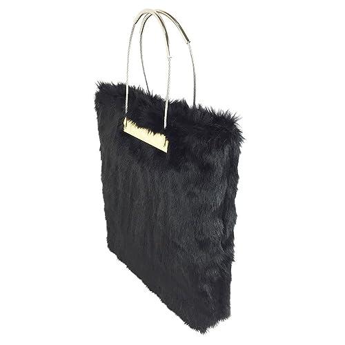 498cdcc332b3 Flada Women s Designer Large Black Faux Fur Fluffy Handbag Tote ...