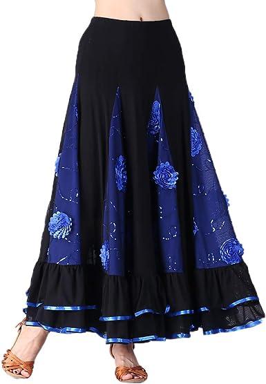 Falda de Flamenco para Mujer - Azul, como se describe: Amazon.es ...