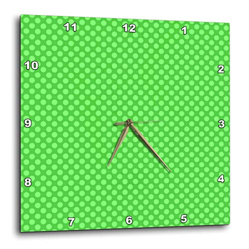 3dRose David Zydd - Patterns - Green polka dot pattern design - 15x15 Wall Clock -