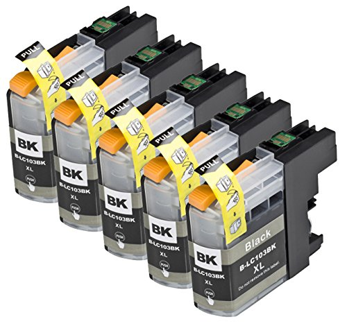 5 Pack Compatible with Brother LC101 , LC103 , LC105 5 Black for use with Brother DCP-J152W, MFC-J245, MFC-J285DW, MFC-J4310DW, MFC-J4410DW, MFC-J450DW, MFC-J4510DW, MFC-J4610DW, MFC-J470DW, MFC-J4710DW, MFC-J475DW, MFC-J650DW, MFC-J6520DW, MFC-J6720DW, M