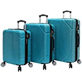 Lucas 3 Piece Rolling Luggage Set Hard Case With Spinner Wheels (Teal)