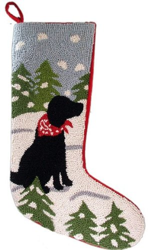 """Festive Black Labrador Retriever Dog Hooked Wool Christmas Stocking- Large 21"""" Size - Exclusive Design by For the Love of Dogs"""