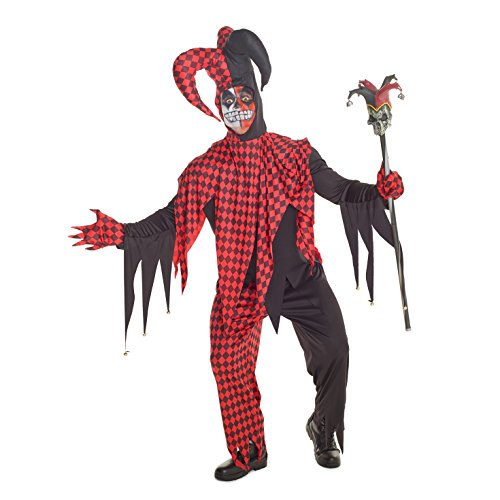 Mens Red And Black Evil Jester Joker Costume - 4 Piece Quality Costume,PLUS (46-48 Inch /117-122 cm Chest),Red