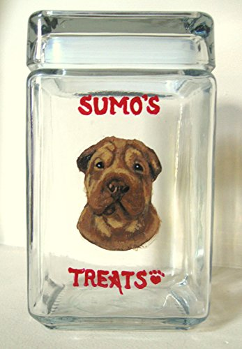 SharPei, Dog Treat Jar, Custom Canister, Dog Biscuit Holder, Pet Storage, Personalized Pet, Dog Art, Animal painting from a photo of your pet