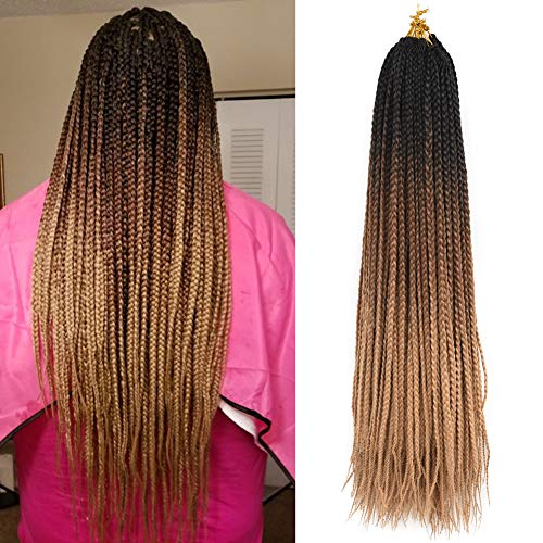 Refined Products 6Packs 24inch Ombre Box Braids Crochet Braids Braiding Hair Weave 22Strands High Temperature Synthetic 3S Box Braids For African Women (#53, 6packs)