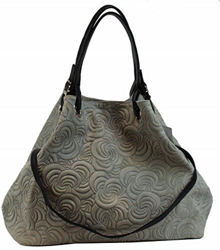 Borsa Bozana Lea Grigio Italia Designer Donna Borsa In Pelle Borsa Scamosciata Shopper Goffratura Nuovo