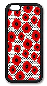 iPhone 6 Cases, Big Red Poppy Flowers On Black And White Polka Dot Durable Soft Slim Case Cover for iPhone 6 4.7 inch Screen (Does NOT fit iPhone 5 5S 5C 4 4s or iPhone 6 Plus 5.5 inch screen) - Black