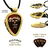 "PickBay Guitar Pick Holder Necklace ECO-BRASS w 27"" Black Leather Cord ECO FRIENDLY, Engravable back"