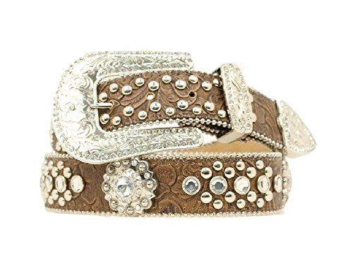 Nocona Women's Blazin Roxx Concho Studded Floral Embossed Western Belt Brown Small