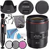 Canon EF 35mm f/1.4L II USM Lens 9523B002 + 72mm 3 Piece Filter Kit + Deluxe Cleaning Kit + Lens Pen Cleaner + Fibercloth + Lens Capkeeper Bundle