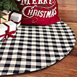 S-DEAL 48 Inches Christams Tree Skirt Black and White Plaid Buffalo Double Layers Checked Deco for Holiday Party Mat Xmas Ornaments