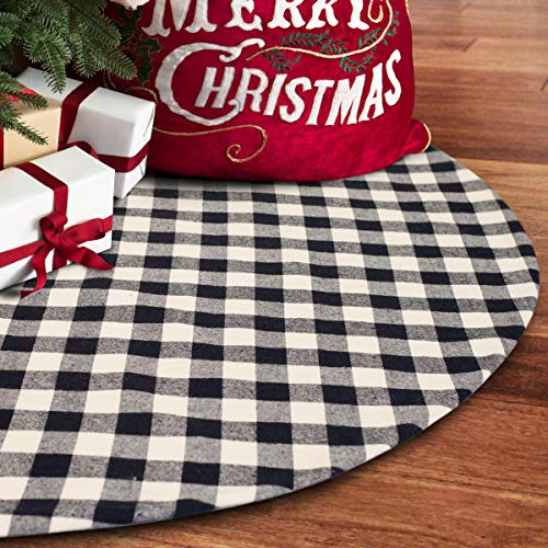 S-DEAL 48 Inches Christmas Tree Skirt Black and White Plaid Buffalo Double Layers Checked Deco for Holiday Party Mat Xmas Ornaments (Christmas Black White Tree Ornament)
