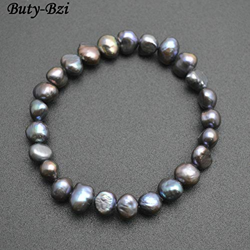 Gabcus Natural Fresh Water White Pearl Baroque Flat Oval Beads Stretch Bracelet Fashion Woman Jewelry - (Metal Color: Peacock Gray Color)