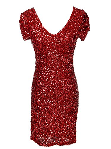 Holiday Mini Dress - Anna-Kaci Womens Sexy Sparkly Glitter Sequin V Neck Bodycon Mini Party Dress, Red Small