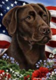 Chocolate Labrador Dog Breed Patriotic House Flag 28 x 40 Inches For Sale