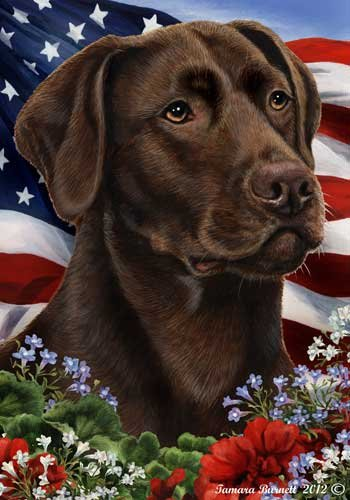 Chocolate Labrador Dog Breed Patriotic House Flag 28 x 40 Inches