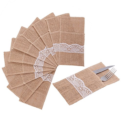 - handrong 50pcs Natural Burlap Silverware Napkin Holder Knife Fork Cutlery Lace Pouch 4 x 8 inch Tableware Utensils Bag for Rustic Wedding Party Bridal Baby Shower Christmas Favor Decorations Gifts